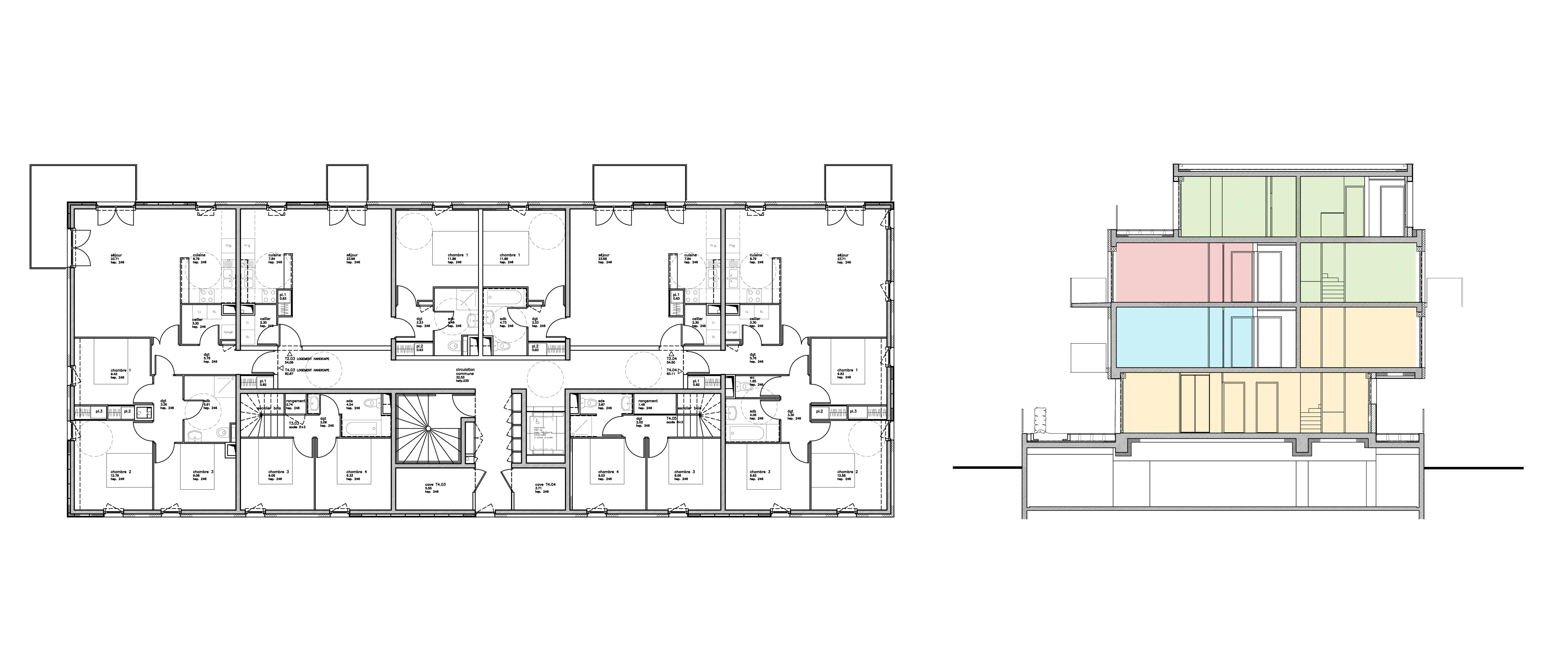 PLAN COUPE 1 - 2 immeubles de 16 logements collectifs - Hérouville-Saint-Clair