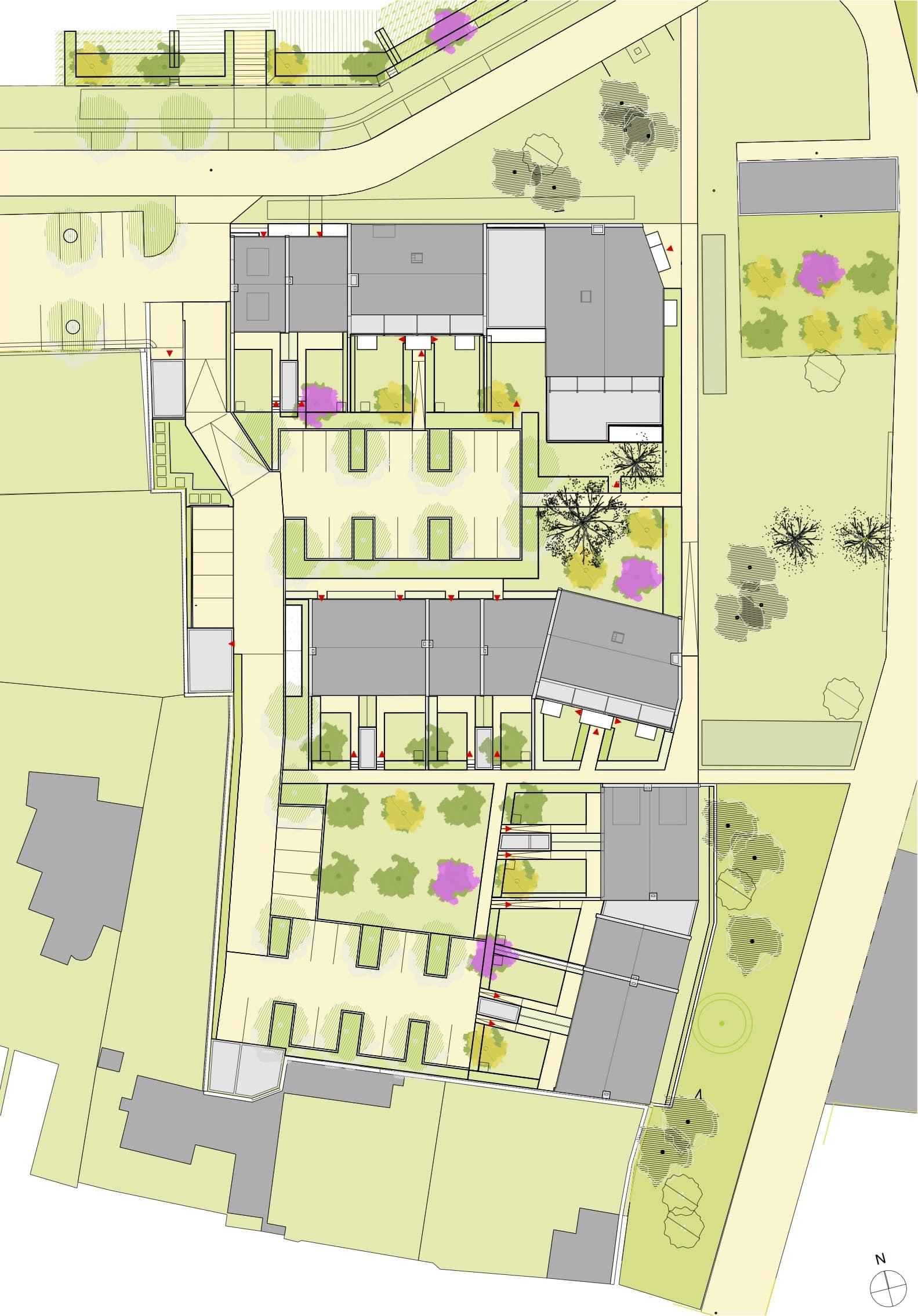1 Plan de masse - Logements - Ilot E - Les grands jardins de Calix – Caen
