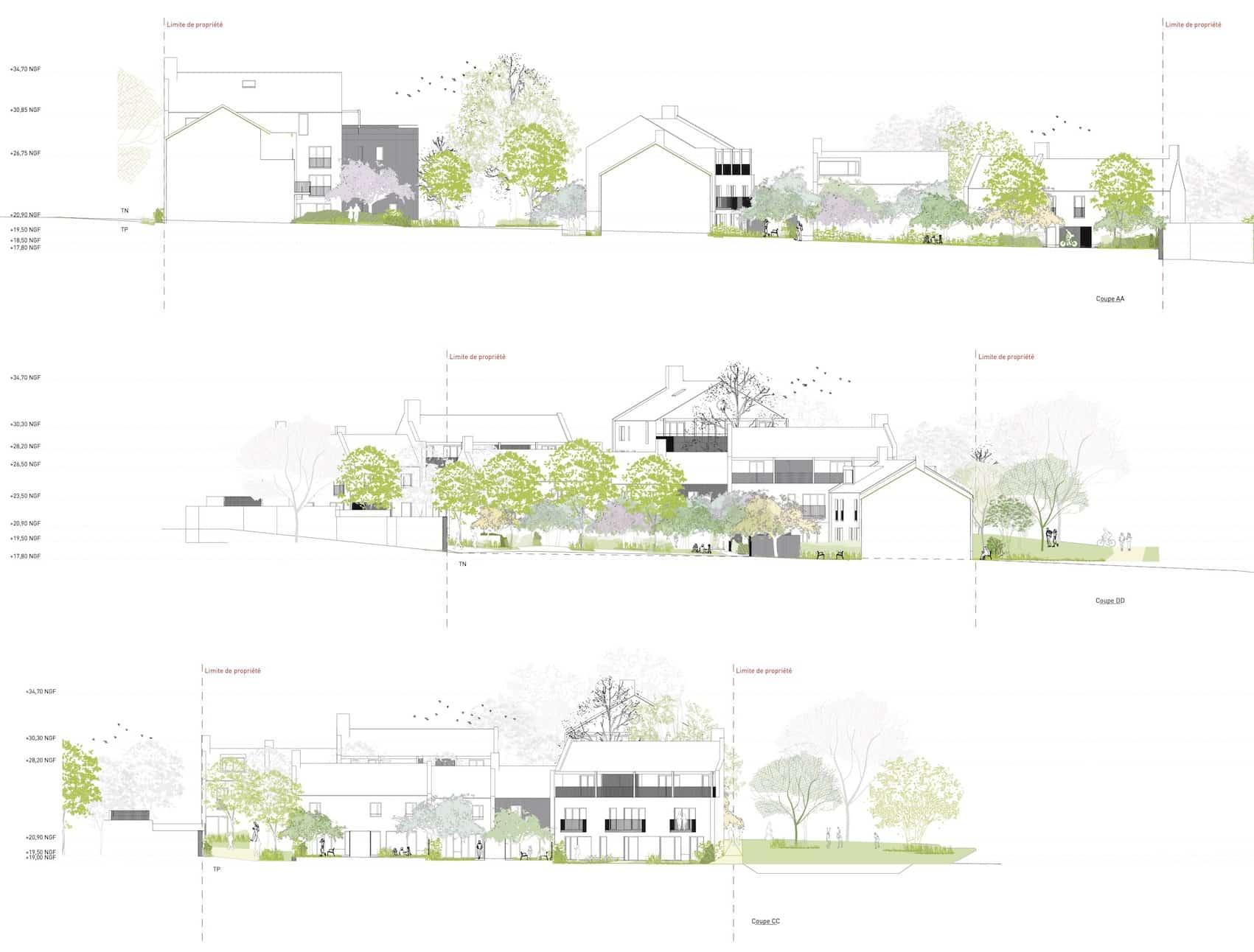 E 3 Coupes paysagères - Logements - Ilot E - Les grands jardins de Calix – Caen